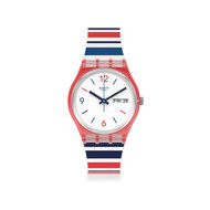 Montre swatch mixte plastique rouge silicone blanc
