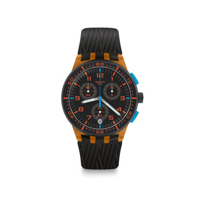Montre Swatch mixte plastique orange silicone noir - vue V1