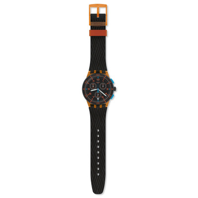 Montre Swatch mixte plastique orange silicone noir - vue VD1