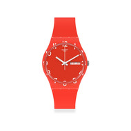 Montre Swatch mixte silicone rouge.