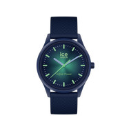 Montre Ice Watch medium mixte solaire plastique silicone bleu