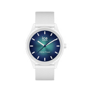 Montre Ice Watch medium mixte solaire plastique silicone blanc