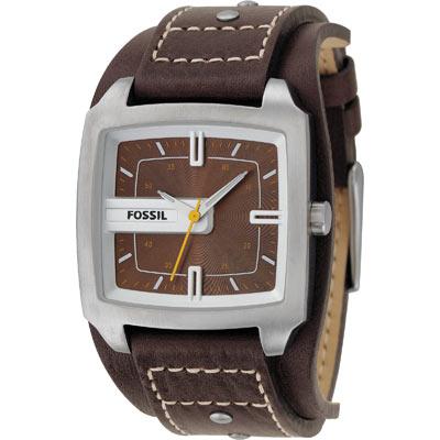 Montre Fossil homme acier bracelet cuir