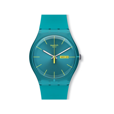 Montre Swatch mixte silicone turquoise - vue V1