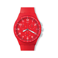 Montre Swatch mixte chrono bracelet caout rouge