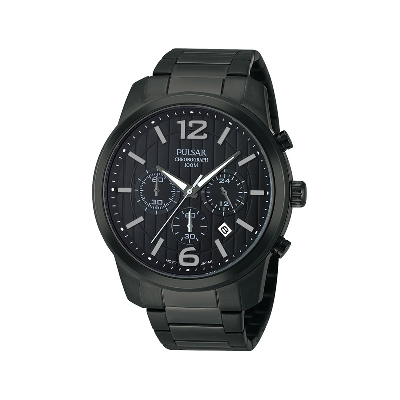 montre pulsar homme chronographe noir homme montre quartz maty. Black Bedroom Furniture Sets. Home Design Ideas