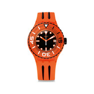 Montre Swatch mixte bracelet caoutchou orange noir
