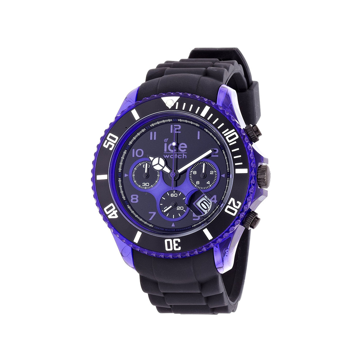 Montre Ice watch homme chronographe silicone noir