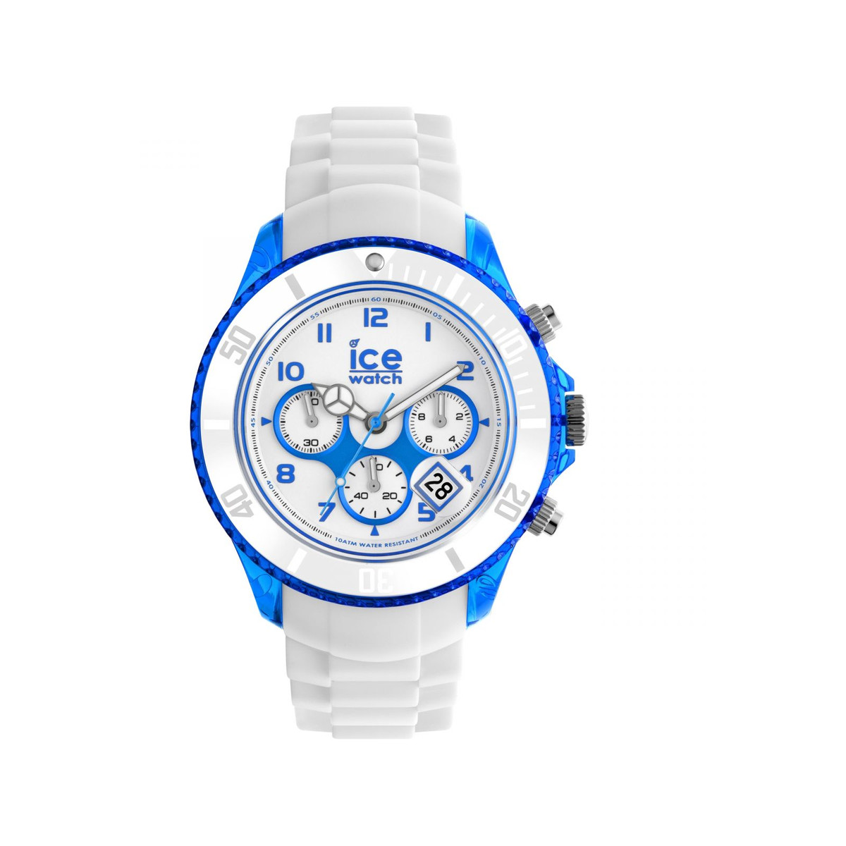 montre Ice Watch mixte chronographe silicone blanc - vue 1