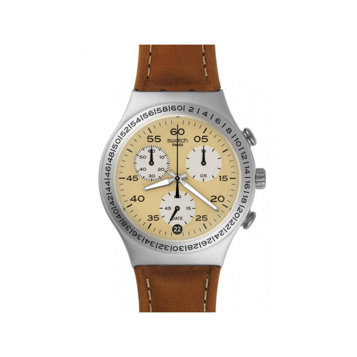 Montre Swatch Brushed earth hommeacier cuir marron