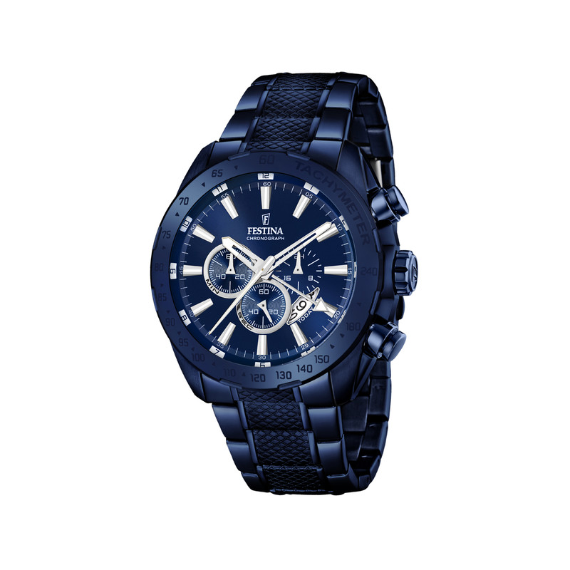 Montre Festina homme acier bleu chronographe - Homme - modèle F16887 ... 9a08c2d22b59