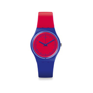 Montre Swatch mixte rouge bleue