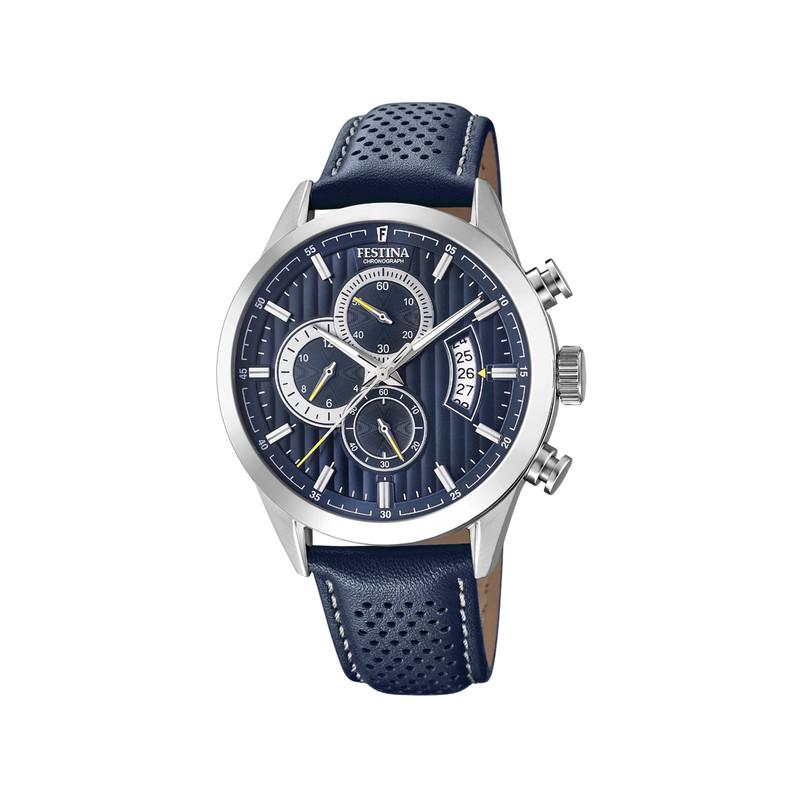 Montre Festina homme chronographe acier cuir bleu - Homme - modèle ... aeca98ffc84e