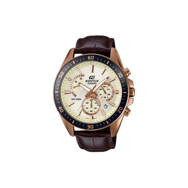 montre casio bracelet cuir marron