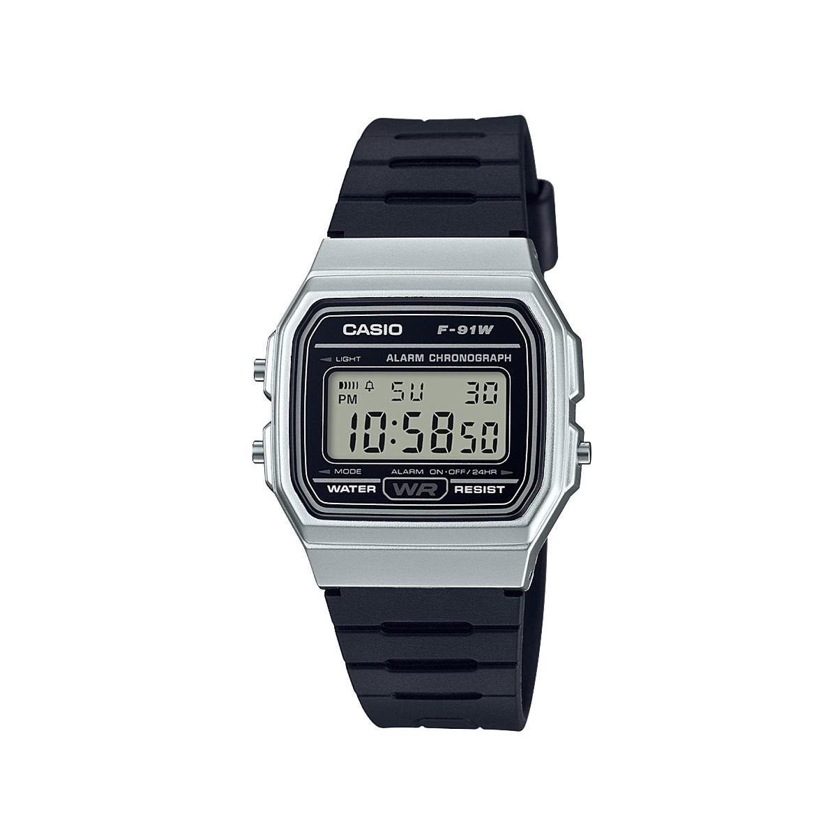 Montre Casio Couleur Or à montre casio homme chronographe résine noire - homme - modèle f-91wm