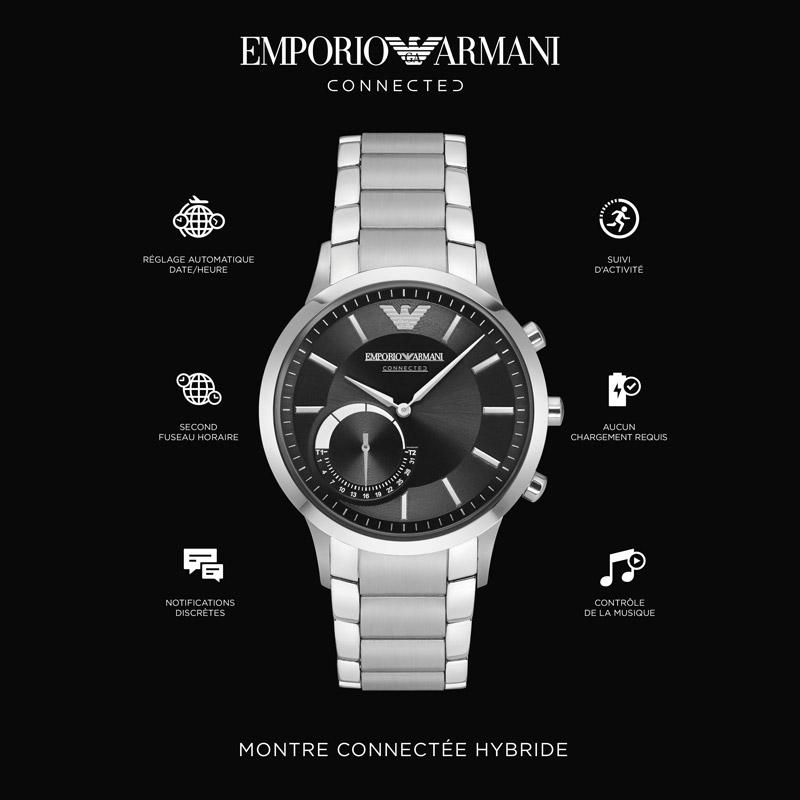 prix le plus bas très loué magasin Montre connectée Emporio Armani homme acier