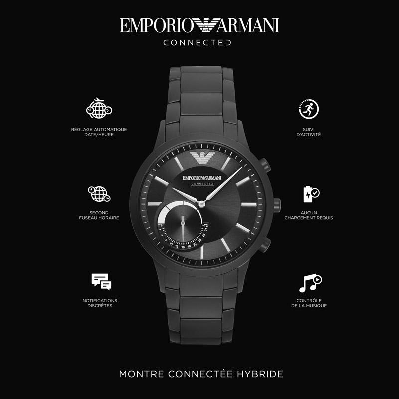 grandes marques meilleur choix prix spécial pour Montre connectée Emporio Armani homme acier noir