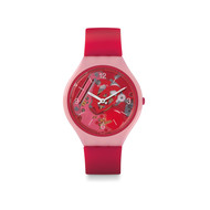 Montre Swatch mixte plastique silicone rose