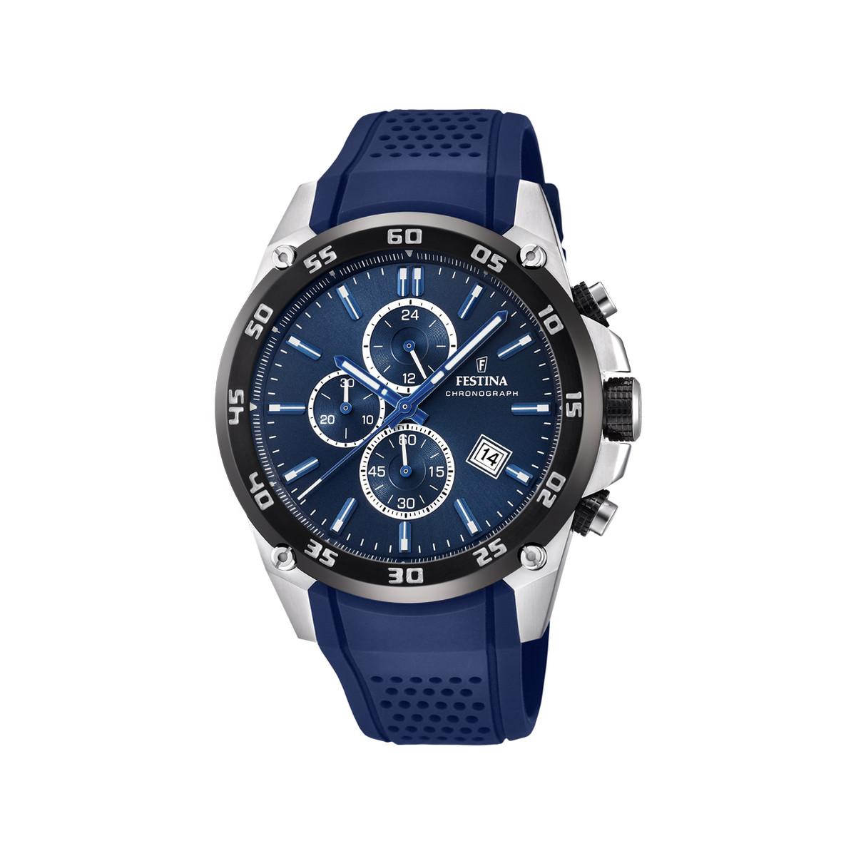 Montre Festina homme chronographe acier silicone - Homme - modèle ... 31efb9907a81