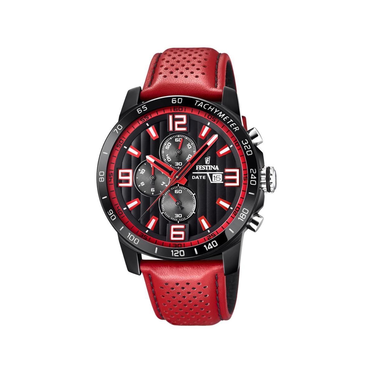 Montre Festina homme chronographe acier cuir rouge - Homme - modèle ... 50796019d452