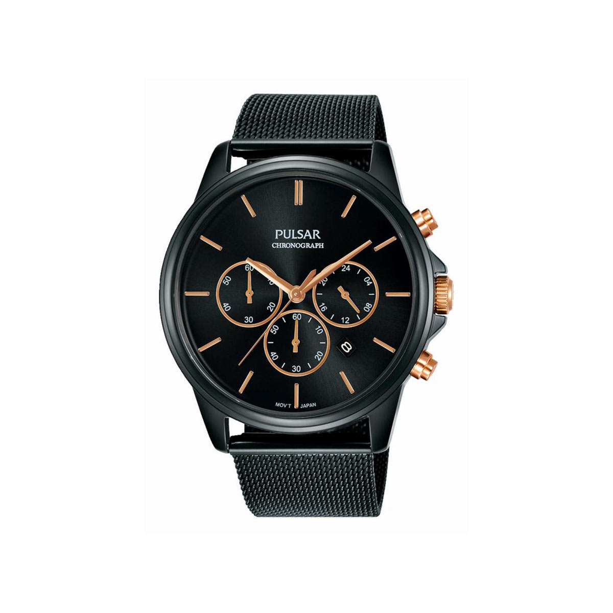 montre pulsar homme chronographe acier noir homme mod le pt3927x1 maty. Black Bedroom Furniture Sets. Home Design Ideas