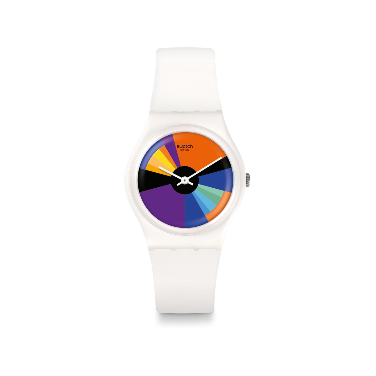 Montre Swatch mixte plastique blanc multicolore