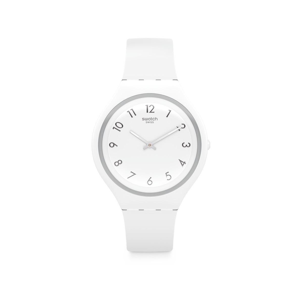 Silicone Plastique Qlmgszpuv Swatch Blanc Modèle Homme Montre Rj5L4A