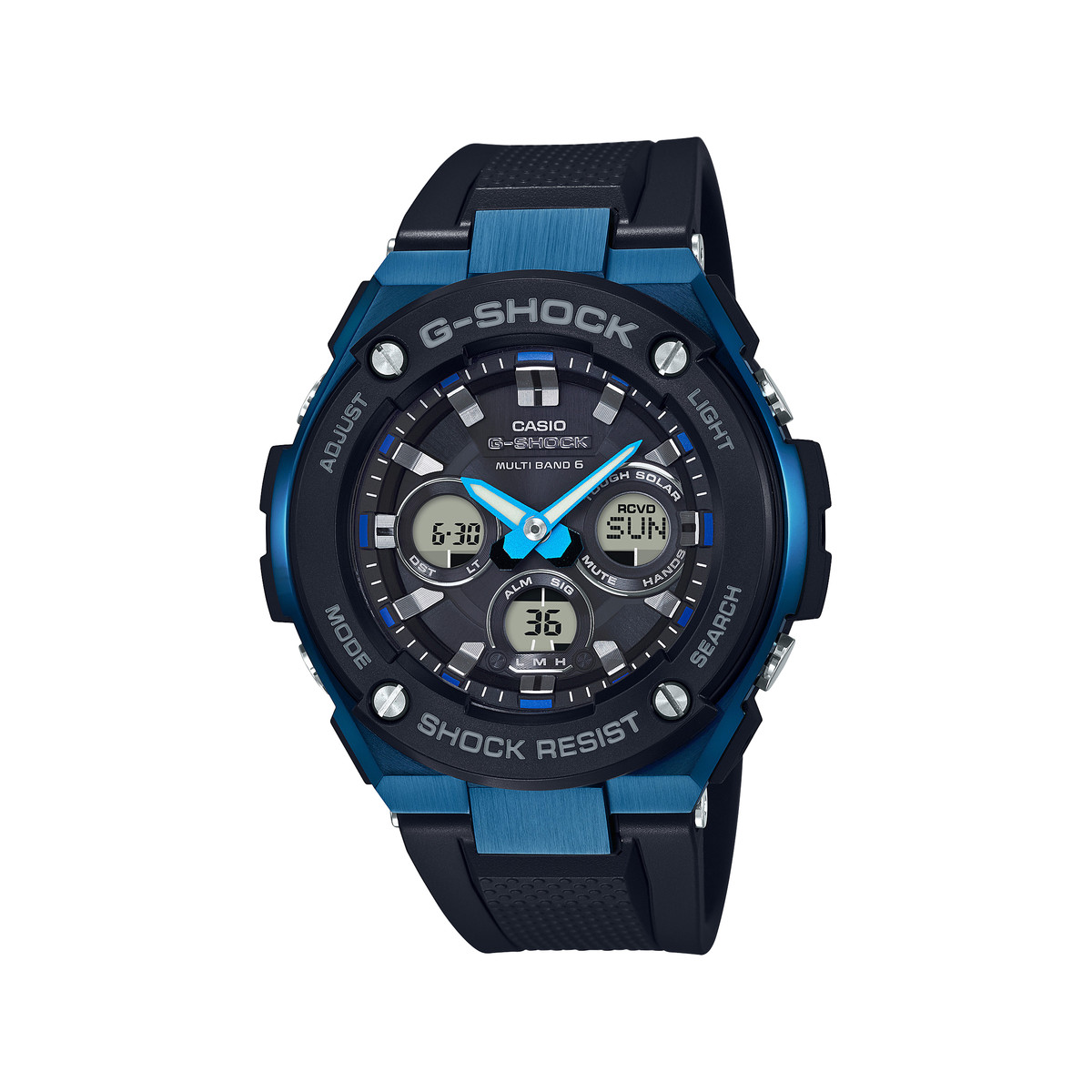 montre casio g shock homme acier bleu r sine homme mod le gst w300g 1a2er maty. Black Bedroom Furniture Sets. Home Design Ideas