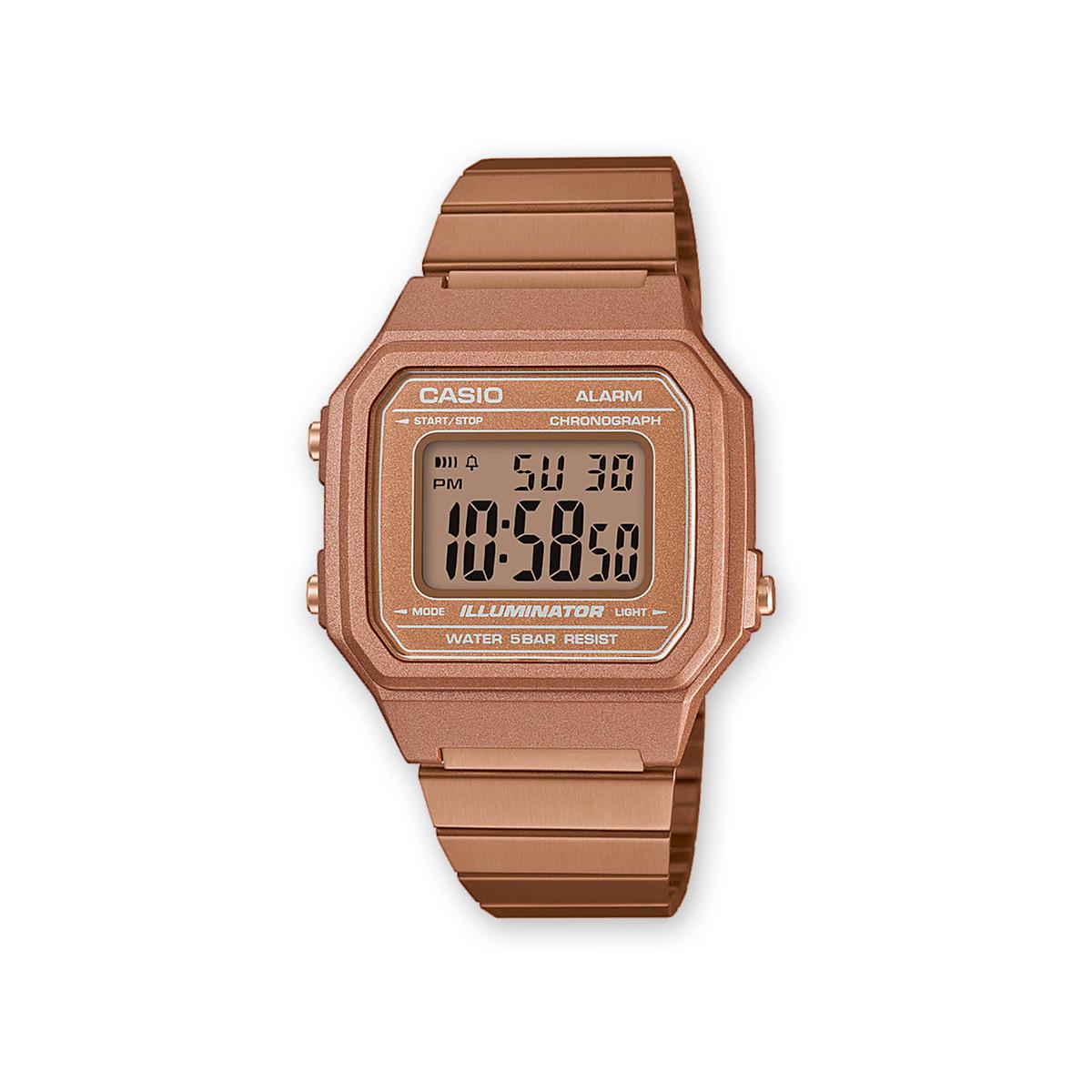 8469e3c5f61d0d Montre Casio mixte digitale acier doré rose - Femme, homme - modèle ...