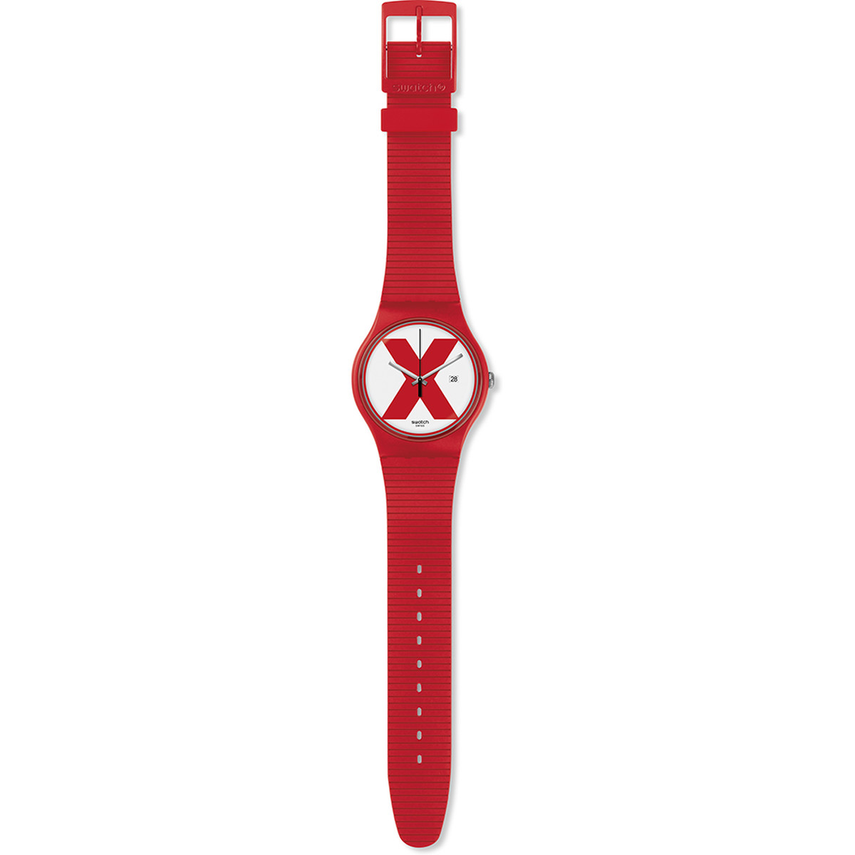 Montre Swatch XX rated red mixte plastique rouge - vue D1