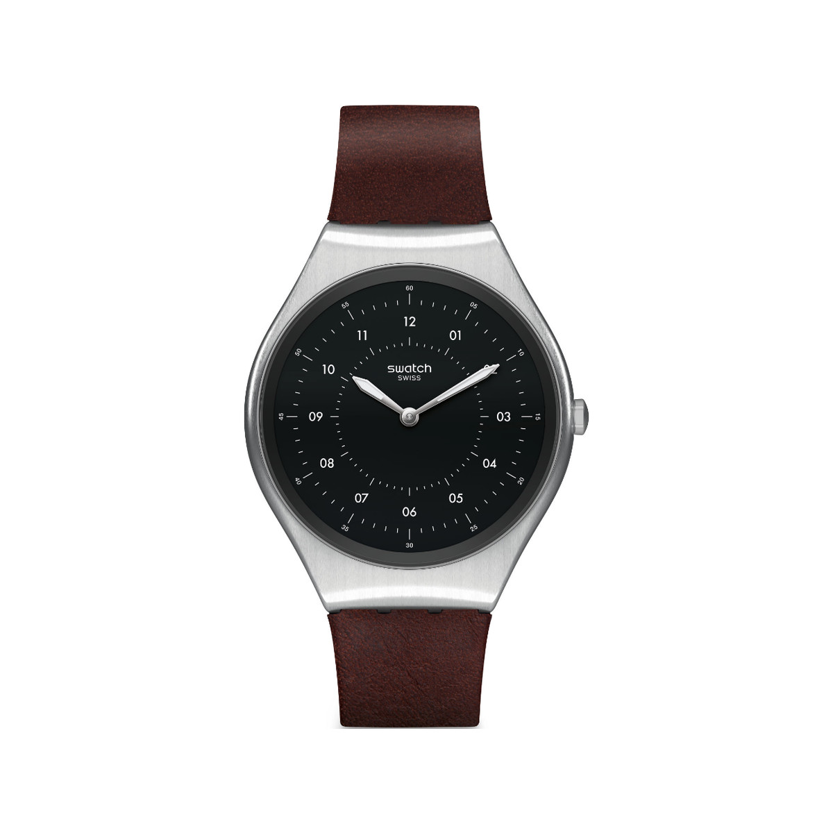 Montre Swatch mixte Skinbrushed acier cuir marron