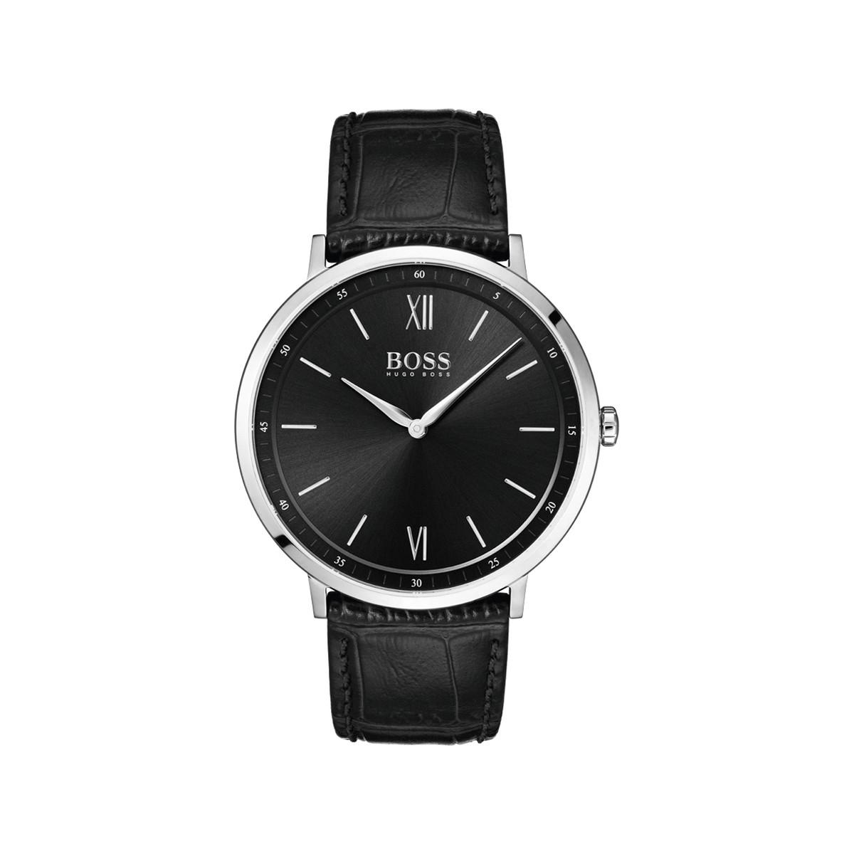 30ddefb5ebb Montre Hugo Boss homme acier cuir noir - Homme - modèle 1513647