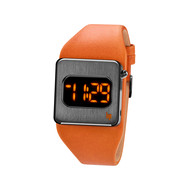 Montre Lip mixte digital acier cuir orange