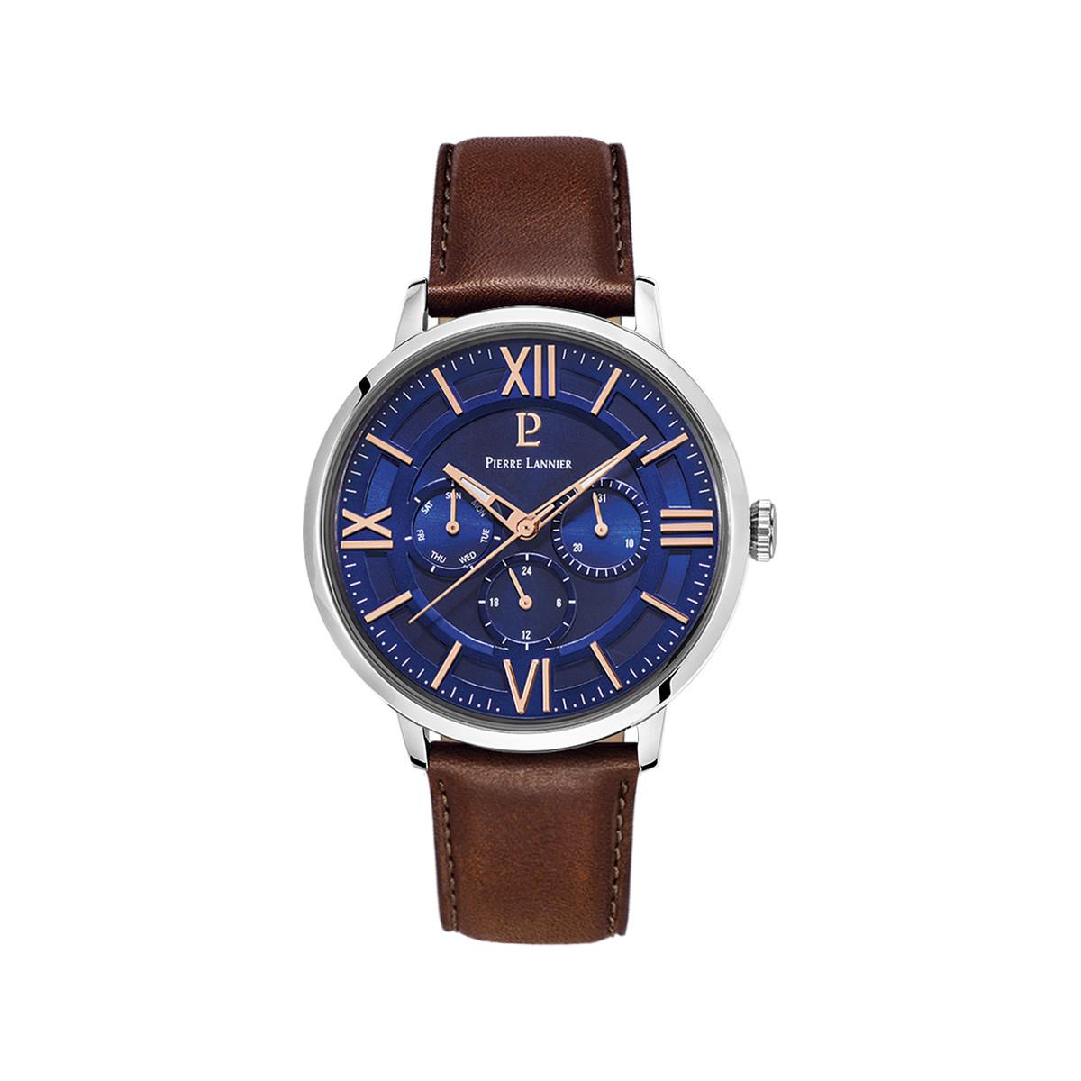 limpide en vue économiser jusqu'à 80% trouver le prix le plus bas Montre Pierre Lannier homme acier cuir brun