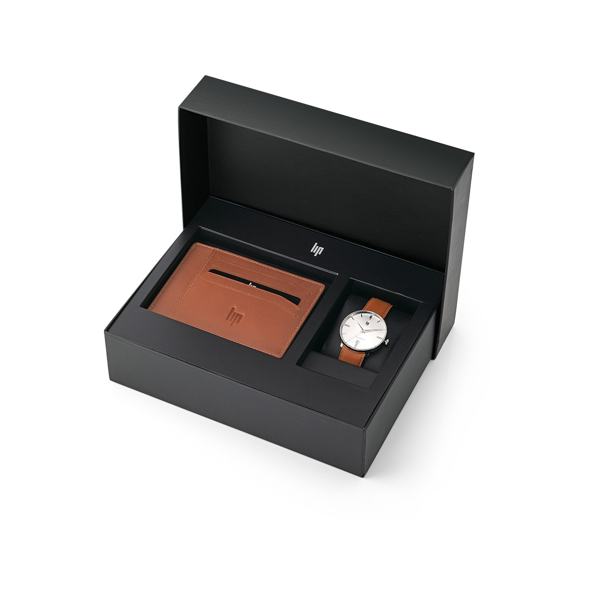 Coffret Lip homme montre porte carte cuir marron