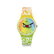 Montre Swatch mixte silicone multicolore.