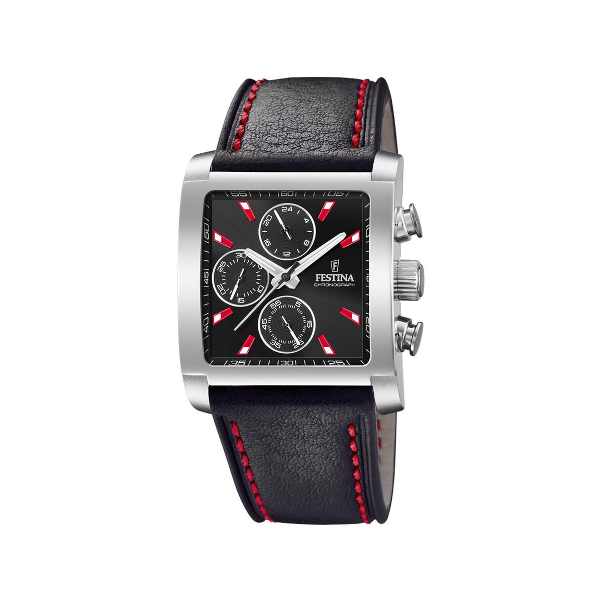 6e903950d48f1 Montre Festina homme chronographe cuir noir - Homme - modèle F20424 ...