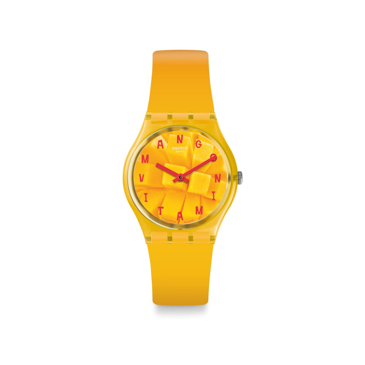 Montre Swatch mixte plastique silicone orange - vue V1