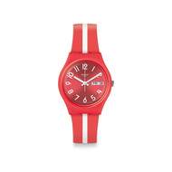 Montre Swatch mixte plastique silicone rouge blanc
