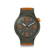 Montre Swatch mixte plastique silicone kaki orange