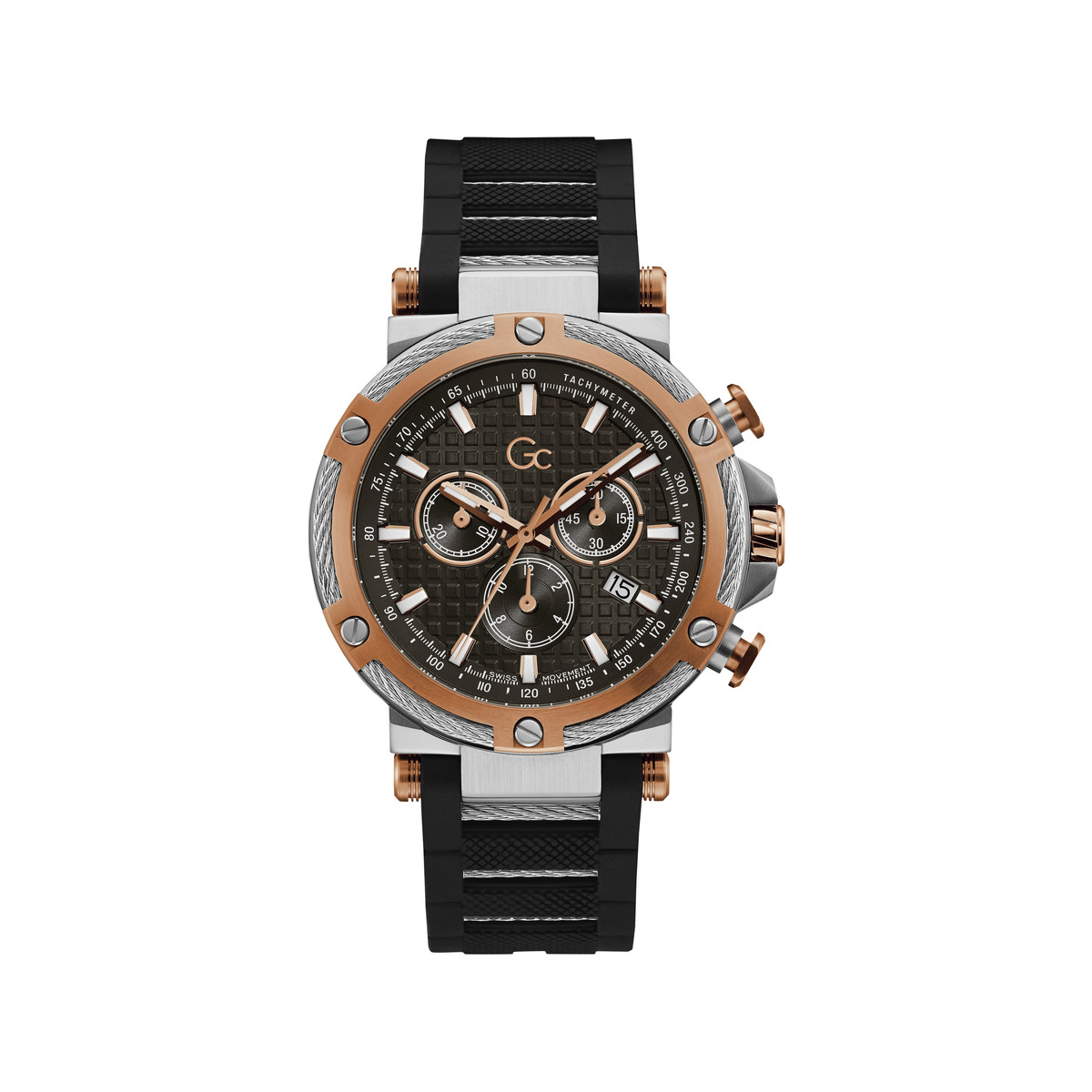 Montre Guess Collection homme chronographe cuir - vue V1