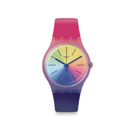 Montre Swatch mixte silicone plastique multicolore