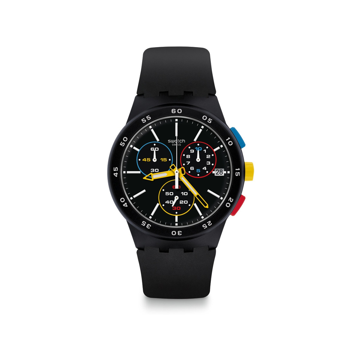Montre Swatch homme chronographe silicone noir - vue V1