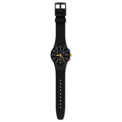 Montre Swatch homme chronographe silicone noir - vue VD1