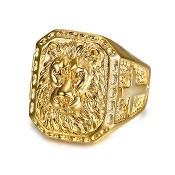 bcebfa84f0d5ca vendu par BOBIJOO Jewelry · Grosse Chevalière Bague Homme Tête de Lion Acier  Inox Plaqué Or Croix Voyageur