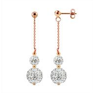 Boucles d'Oreilles 'PINKY GOLD' - Véritable Crystal Blanc - STELLA - Collection CRYSTAL PEARL
