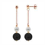 Boucles d'Oreilles 'PINKY GOLD' - Véritable Cristal Blanc - noir - STELLA - Collection CRYSTAL PEARL