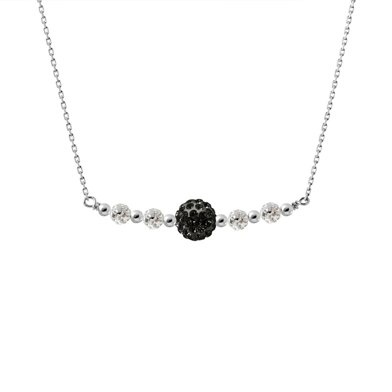 Collier Cristal noir - STELLA - Collection LOVE JEWELRY - vue V1