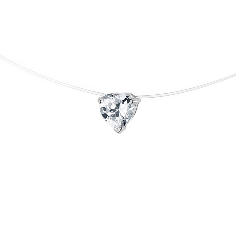 Collier - Fil nylon transparent - Argent 925 - vue V1