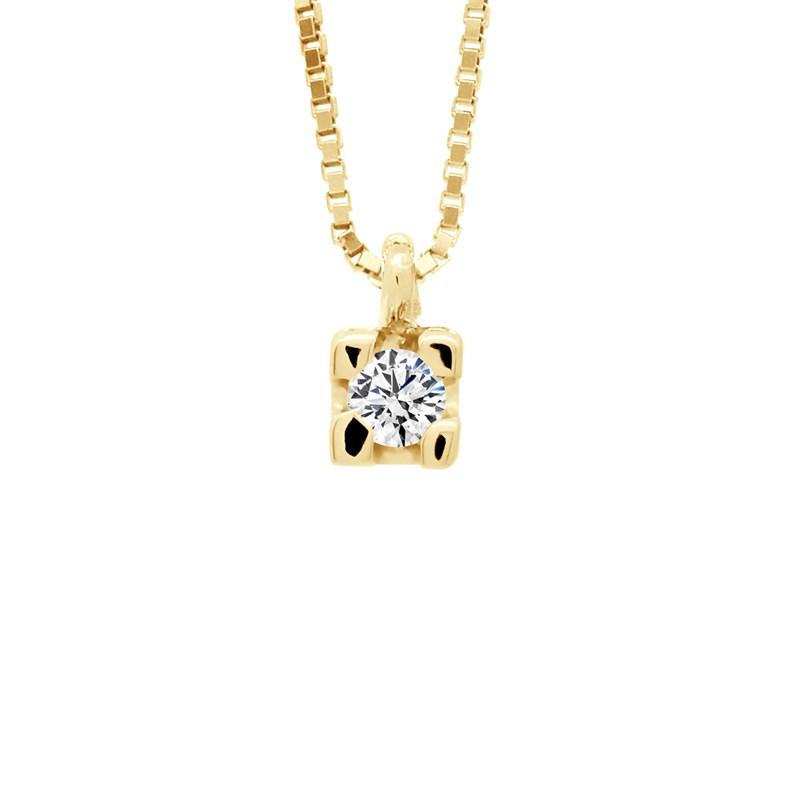 images officielles le prix reste stable meilleur choix Collier Solitaire Diamants - Chaine Vénitienne Or Jaune